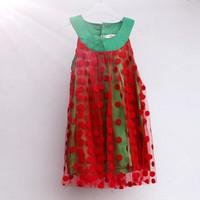 in stock 2014 summer cute polka dots girls' dresses Free shipping (1pcs) retail 6~24M baby clothing shij