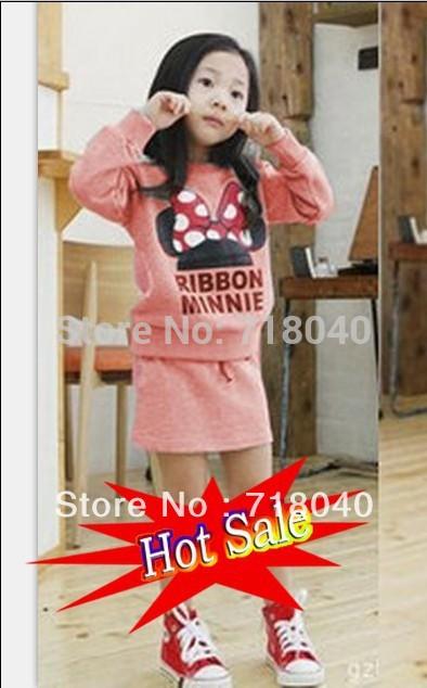 Novo 2013 Meninas Equipamentos de Natal Fashion Girls Hooides Define Minnie Mouse roupa do bebê Set Outono crianças roupas de alta qualidade(China (Mainland))