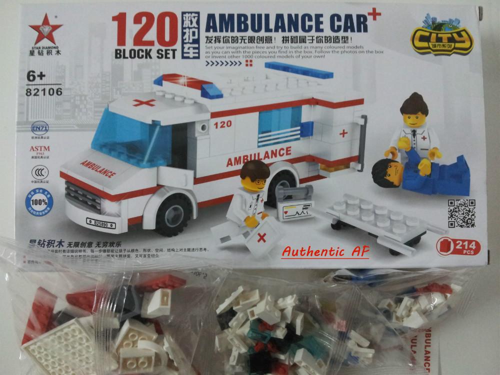 Chrismas Xmas Gifts for Kids:Enlighten train toy: 214pcs Educational Building Blocks /mini Ambulance Car and Rescuers(China (Mainland))