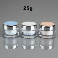 50pcs 25g  cream jar with inner cover plastic cosmetic jar empty containers for cosmetics TFSD-2