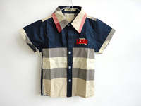 Retail Brand 2014 new arrival England plaid shirt cotton t-shirts for baby childrens kids chothes  summer t shirts top short