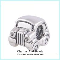 Loving Heart Car 925 Sterling Silver Charm Beads With Crystal DIY Bracelets Jewelry Making Fits Pandora Style Bracelets