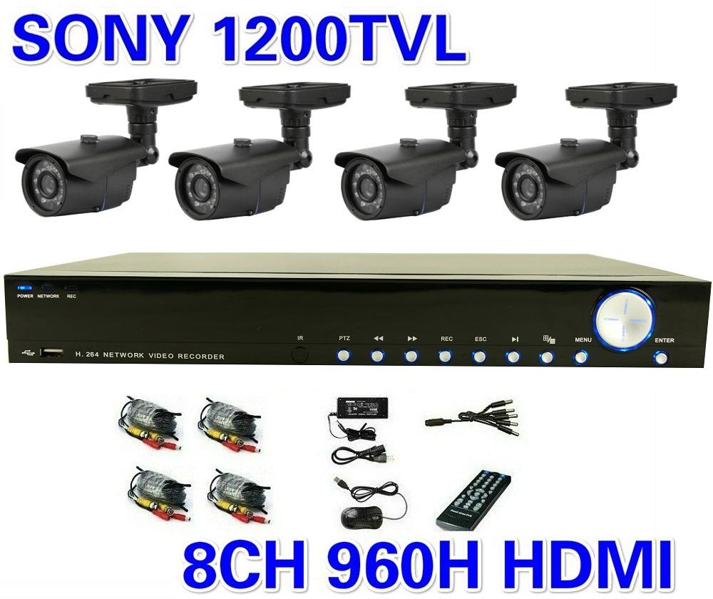 Security Sony 1200TVL Night Vision Surveillance CCTV System 8ch 960H DVR 4pcs IR Cameras Surveillance System 8ch DVR Kit(China (Mainland))