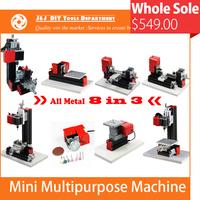8 in 3 All-Metal Mini Lathe Machine; Mini Combined Machine Tool; DIY Mini Lathe Machine Tool,Soft Metal or Wood  Processing