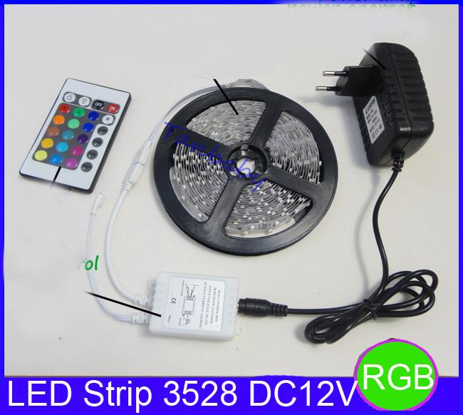Hot! RGB led strip 3528 flexible strip light DC12V 5M 300led +24key IR remote controller +power adapter EU/US/AU Plug free ship(China (Mainland))