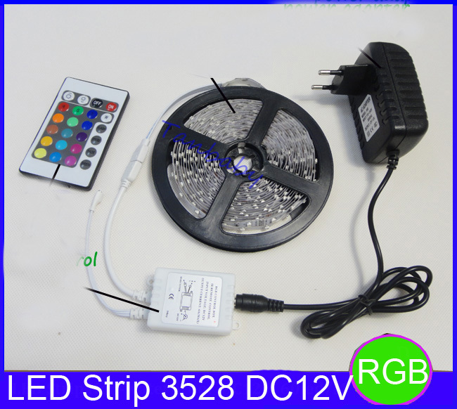 Hot! RGB led strip 3528 flexible strip light DC12V 5M 300led +24key IR remote controller +power adapter EU/US/AU Plug free ship(China (Mainland))