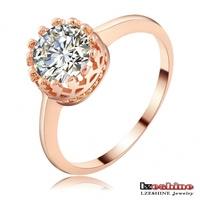 LZESHINE Brand Small Romantic Heart Ring Real 18K Rose Gold /Platinum Plt Engagement Ring Pave Austrian Crystal Ri-HQ1081