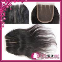 4*4 inch middle free side 3 ways part closure brazilian straight lace top closure 1b brazillian virgin hair closures Forawme