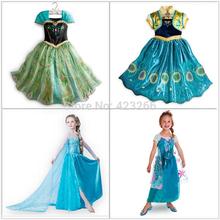 Retailer 2014 Elsa Dress Custom made Movie Cosplay Dress Summer Anna Girl Dress Frozen Princess Elsa Costume for Children 3-8Y(China (Mainland))