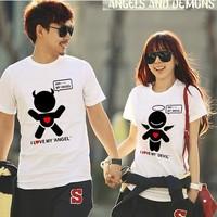 2014 new fashion design 'Angels & Demons' couple t-shirts men Women short sleeve cotton t shirt  Summer lovers t shirt