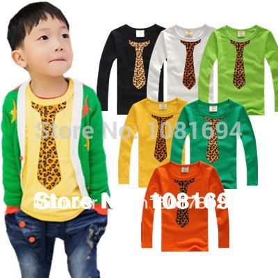 New 2014 t-shirts, cotton long sleeve children t shirts, cute necktie cartoon t-shirt, candy color bottoming t shirt, nova kids(China (Mainland))