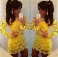 2014 New arrival Sleeveless Lace dress Mini dress Sexy Hollow Out Flower Summer dress Good quality Casual dress wholesale