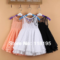 2014 new girls sleeveless full lace dress high quality kids summer clothing luxury dress for party dance free shipping in stock