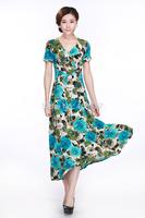 2014 Good Quality female Summer short-sleeve V-neck long slim waist dress, plus size wonderful soft elastic fabric full dress