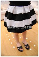 Hu sunshine wholesale new 2014 autumn girls kids white black striped skirts france name brand-style