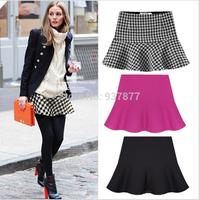 2014 New Fashion Women Spring Autumn and Winter OL Geometric Pattern Chiffon Ruffles Short Skirts ladies Ball Gown Skirt