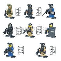 SWAT Riot Police Special Forces Marine Corps Minifigures 8pcs/lot Building Blocks Sets Model DIY Bricks Figure Toys For Children