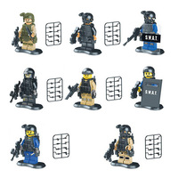 SWAT Riot Police Special Forces Marine Corps Minifigures 8pcs/lot Building Blocks Sets Model DIY Bricks Figure Toys For Children