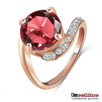бренд lzeshine personalited красный рубин кольцо реальных 18k роуз позолоченные swa элемент подлинной австрийской crystal ri-hq1023-a девочки кольца