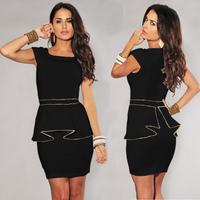 summer dress 2014 Two Color M L XL Plus Size New European Fashion Women clubwear Vintage Gold Edge Peplum ruffle Casual Dress