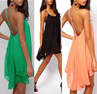 new 2014 Fashion Women Backless Sling Mini Dress Hollow Sleeveless Pure Color Chiffon Sexy party dress Beach Dresses plus size
