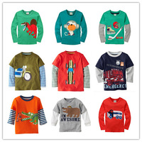 New Arrival 2014 Boys Long Sleeve T-shirt Baby Boy shirts Kids Tshirts Children Tees 100% Cotton New Cartoon Brand 18 colors