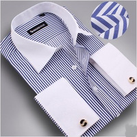 Free shipping new 2014 shirt free S-4XL plus size men shirt long sleeve+free cufflinks men dress shirt  fashion shirts for men