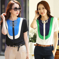 Korean Women Chiffon Blouse Summer Color Patchwork Blusas Chifon Camicetta Camisa Femininas Manga Curta