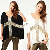 2014 New Women Leisure Cross Sequins Decor Low O-Neck half Batwing sleeve T-shirt Cotton Tee M,L,XL plus size 19797*