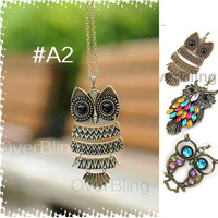 2014 Fashion necklaces pendants Bronze Silver Cute Owl Shape Jewelry Metal Vintage Retro Chain Pendant Necklace Free Shipping