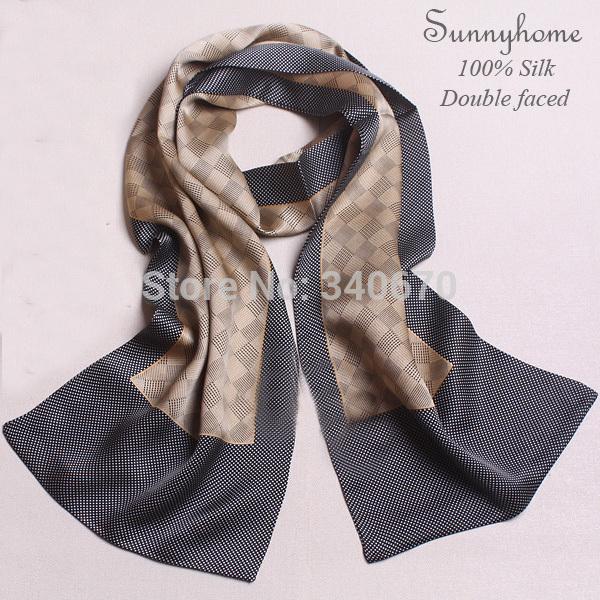 2015 men's fashion geometry 100% pure silk warmer cc scarf double face Korean men shawl genuine high-end natural silk scarfs(China (Mainland))