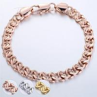 Customize size 8MM Boys MENS Bangle Curb Cuban Snail Bracelet  18K Gold Filled Bracelet 18KGF Wholesale Jewelry Gift  GB209