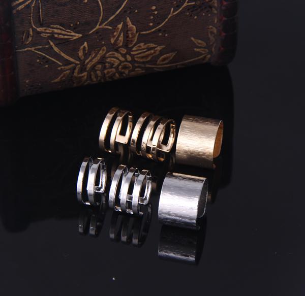 TJ001 Newest 3 pcs Shiny Punk Polish Gold Stack Plain Band Midi Mid Finger Knuckle Ring Set high quality Rock 2 colors wholesale(China (Mainland))