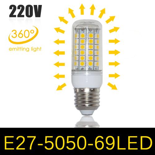 2014 NEW Ultra Brightness LED lamps 15W E27 5050 69LEDs 220V 240V High Quality Chip 5050 SMD Corn LED Bulb Pendant light 4pcs(China (Mainland))