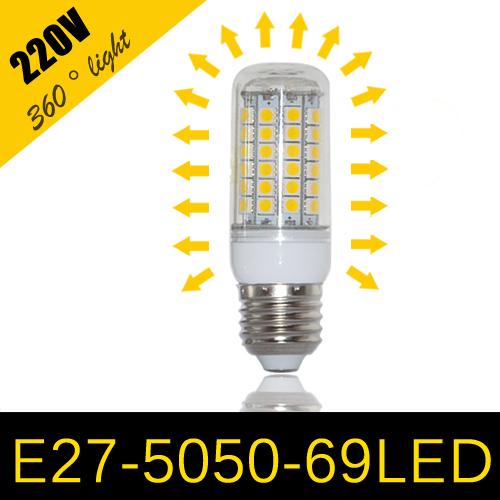 1pcs 2014 NEW High Bright 15W Wall LED lamps E27 69 LEDs 220V High Quality 5050 SMD Corn LED Bulb Ceiling light(China (Mainland))