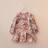 2014 love child girl summer dress cotton multicolour ribbon disk flowers long-sleeve one-piece dress girl dress C0008