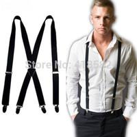 BD002-- Fashion 26 colors 4 clips Men's suspenders 2.5 cm adjustable elastic women pants Braces free shipping