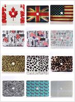 "Wholesales Leopard&Carton&Flag&Leather Cut Logo Rubberized Hard Skin Cover Case For Macbook Pro 13""15"" Retina A1425 A1502 A1398"