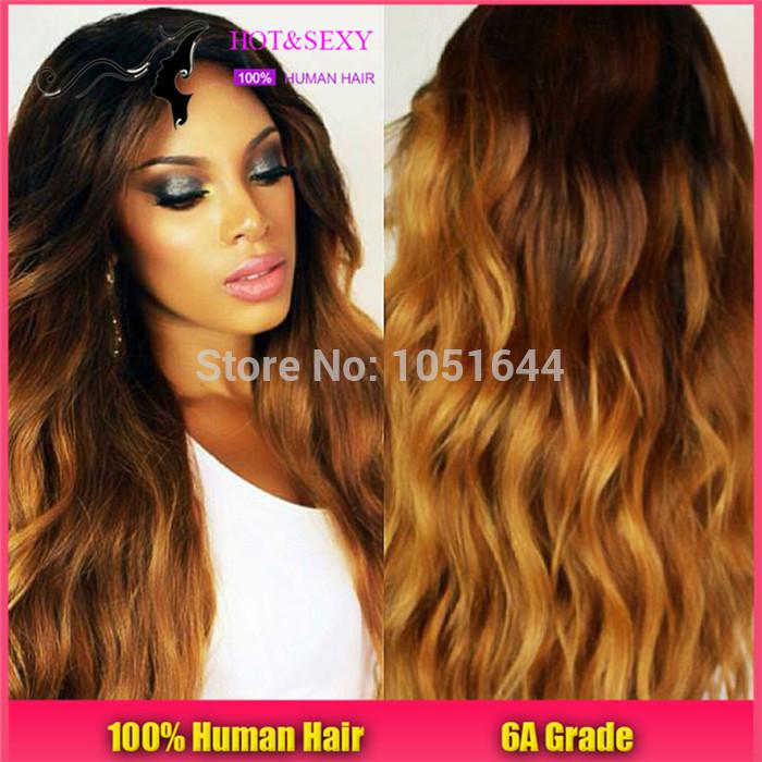 Schöne perücke mit zwei tönen haarfarbe ombre farbe vordere spitze Farbe/ombre volle spitzeperücke 130% Dichte kostenloserversand