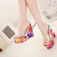 2014 Women Platforms Wedges Flip Flop High Heels Wedges Sandals Sweet Paillette Female Bling Flock Slides Size 40 Blue Pink