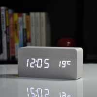 2014 Best High-end clocks,Thermometer Alarm clock LED Digital Voice Table Clock,10 colors Digital Clock Battery/USB power
