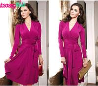 Women spring summer dresses fashion 2014 new women clothes long sleeve v-neck pleats lacing skater dress red long dress