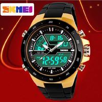2014 Brand Casual Men Sports Watch 2 Time Zone Digital Quartz Watch Fashion Dress Wristwatches LED Dive Military Watches