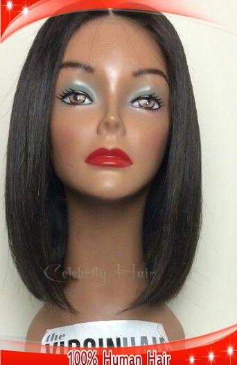 Peruano virgem bob cabelo humano #1color parte do meio 12 polegada bob corta o cabelo perucas cheias do laço curto com cabelo do bebê para as mulheres negras(China (Mainland))
