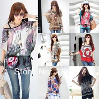 2014 Ladies 15 Styles Women Bohemia Batwing Short Sleeve Off Shoulder Floral Blouse Loose Sexy Top T-shirt