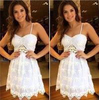 vestidso 2014 Sleeveless bandage dress white lace vestido de festa fashion women summer dress casual dresses frete D17