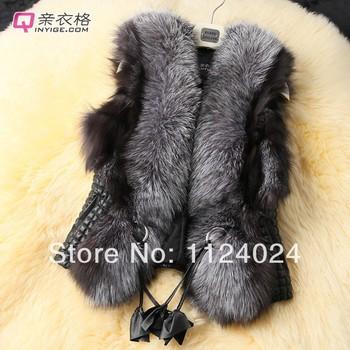 2013 Короткая дизайн женский лисий мех жилет кожаный жилет верхняя одежда плюс размер ...