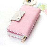 2014 Brand new Korean fashion designer lady's long wallet multifunction matte PU leather women wallet purse phone bag