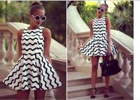 Summer Dress 2014 vestidos New Fashion Woman Lace Chiffon Dress Stripes Sexy Women Casual Dresses Bandage summer Desigual dress