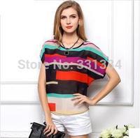 Fashion Women Striped Chiffon Blouse Multi Color Print Shirts Loose Short Sleeve Casual Blouse Femininas Plus Size blusas Tops